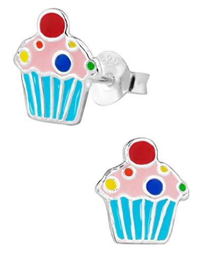 Hypoallergenic Sterling Silver Sprinkles Cupcake Stud Earrings for Kids (Nickel Free) - Sterling Silver Childs Cup