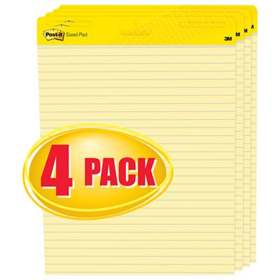 Self-Stick Easel Pads, Ruled, 25 x 30, Yellow, 4 30-Sheet Pads/Carton, Sold as 4 Pad
