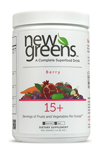 New Greens | Green Superfood Powder | 54 Active Antioxidant Ingredients | Juice & Smoothie Drink with Herbal, Enzyme & Fiber Blends | Berry Flavor | Non-GMO, Vegan & Gluten Free. by New Greens