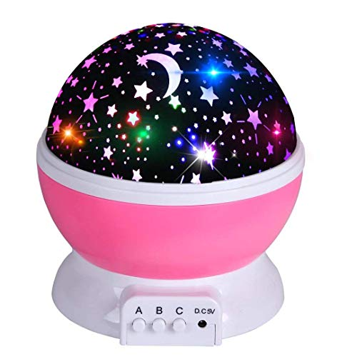 (Acecharming Star Sky Night Light Projector,Baby Lights Romantic Rotating Cosmos Projector Lighting Projector for Kids, 360 Degree,8 Colors, 4 LED)