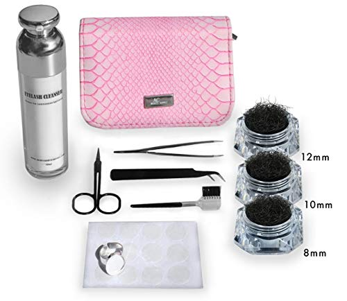 Single Eyelashes Kit With Application Tools and Cleanser/ Single Eyelashes- 8mm, 10mm, 12mm/ Glue Ring and Silicone Pad