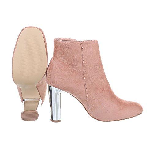 Schuhcity24 Damen Schuhe Stiefeletten High Heels Boots Altrosa