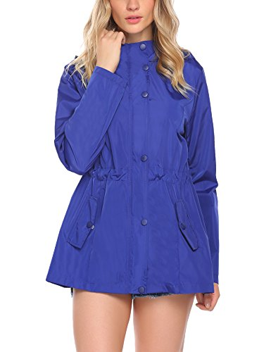 SummerRio Long Sleeve Lightweight Waterproof Outdoor Raincoat W/ (Large Womens Coat)