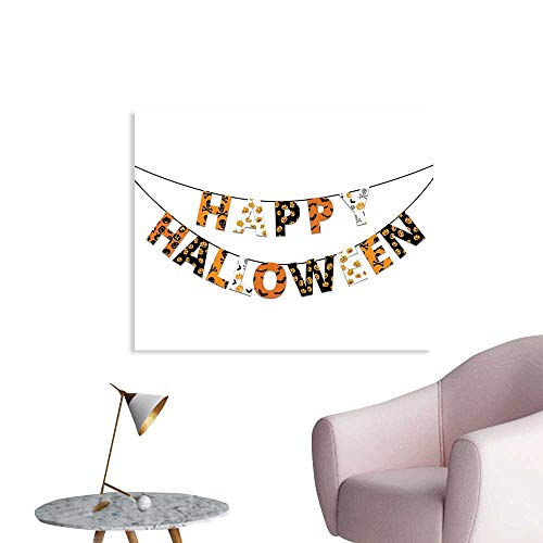 J Chief Sky Halloween Wallpaper Sticker Happy Halloween Banner Greetings Pumpkins Skull Cross Bones Bats Pennant Decor Mural for Home W32 -