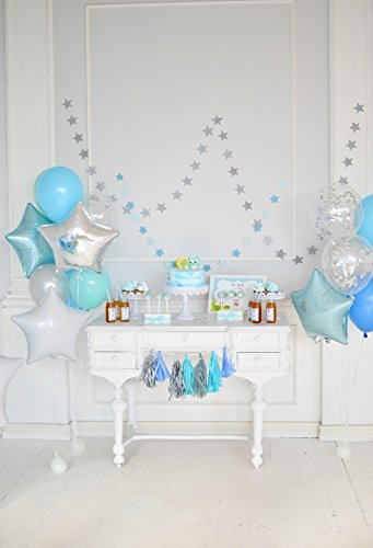 Minishot 5x7ft Kids 1st Birthday Backdrop Boys Bday Party Photography Drop Blue White Room Decor Background Marin Cake Table Lay Out Floor Ballon Bouquets Tassel Banner Flag Girls Photo Shot Booth