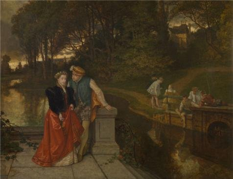 Oil Painting 'Joseph Lies - Lovers In The Park, 19th Century', 8 x 10 inch / 20 x 26 cm , on High Definition HD canvas prints is for Gifts - Ray Homes Jim Mobile
