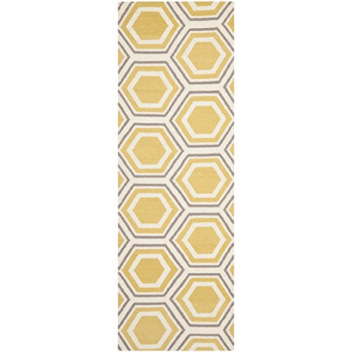 (Safavieh Dhurries Collection DHU202A Hand Woven Ivory and Yellow Premium Wool Runner (2'6