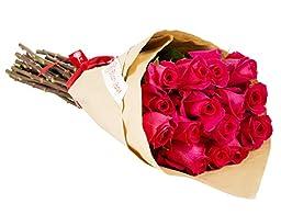 24 Long Stem Hot Pink Rose Bouquet - No Vase