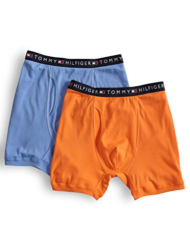 Tommy Hilfiger Mens Knit Boxer (Tommy Hilfiger Big and Tall 2-Pack Knit Boxer Briefs, Orange Blue 6XL)