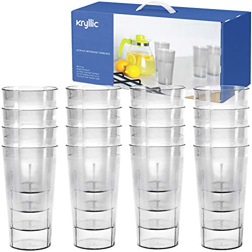 - Plastic Cup Tumblers Drinkware Glasses - Acrylic Tumbler Set of 16 Clear Break Resistant 20 oz. Restaurant Quality Tumblers Dishwasher Safe and BPA Free by Kryllic