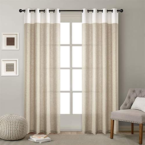 Dreaming Casa Linen Textured Color Two Tones Sheer Curtains Grommet Top Window Treatment Panels White Natural 2 Panels 52''W x 108''L