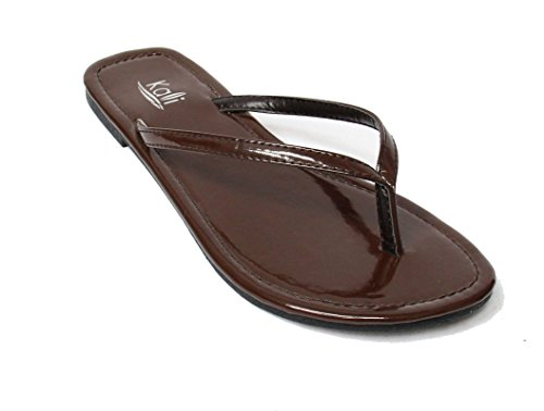 s Twins Basic Patent Flat Thong Sandal, Brown 11 (Brown Footwear)