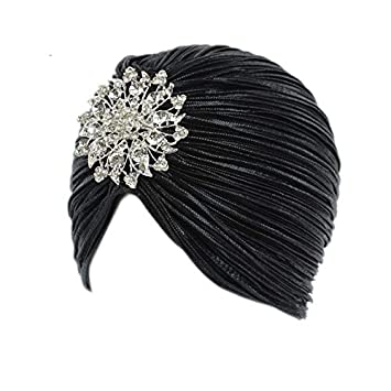 Women Vintage Velvet Knit Turban Beanie Hats Headwraps Cap Flapper Hat  Twist Pleated Stretch Headscarf A 25989f3db918