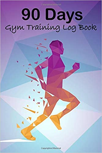 90 days gym training log book geometric fitness journal workout and