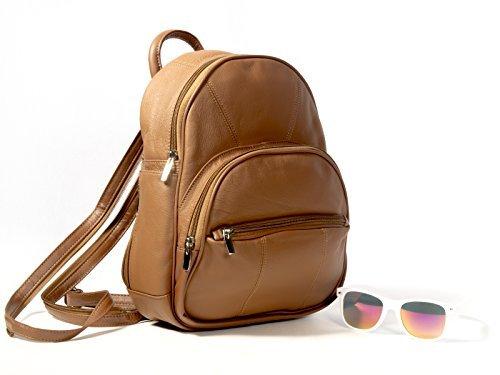 494f8be1479 Goson Genuine Leather Mini Backpack Handbag/Purse With Sling & Side Cell  Phone Pocket Bundle with Stylish Sunglasses