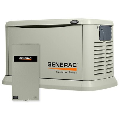 Generac 6729 Guardian Series, 20kW Air Cooled Standby Generator, Natural Gas/Liquid Propane Powered, Steel Enclosed, with 200-Amp Service Rated Switch (Discontinued by (Generac Guardian Series)