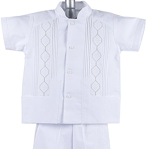Boys Linen Guayabera Shirt (Boys Guayabera Shirt, Boys Baptism Shorts w/ Pants Set, Mexican Wedding Shirt, Cotton Guayaberas, style CAP 801 (4 YR))