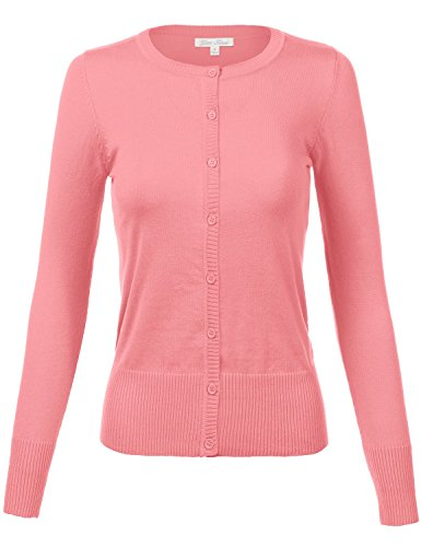 Plus Size Simple Crew Neck Long Sleeve Solid Color Cardigans, US 1XL, 020-Pink