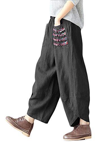 (Minibee Women's Baggy Linen Wide Leg Trousers Casual Patchwork Elastic Waist Harem Pants Black XL)