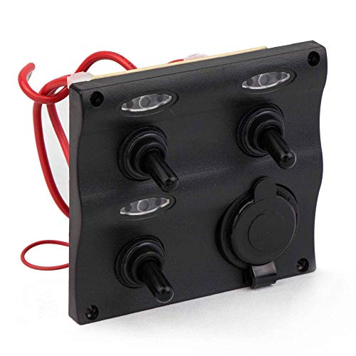 - Five Oceans Marine Waterproof 3 Gang Toggle Switch Panel with Cigarette Lighter Socket FO-2892
