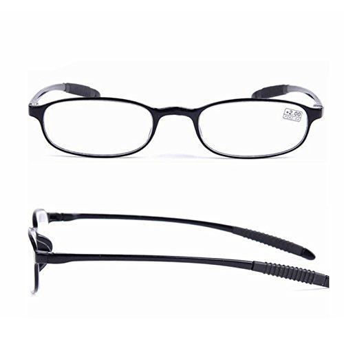 Winnerbe TR90 Ultralight Unbreakable Reading Glasses Pressure Reduce Magnifying (Black 2.0)