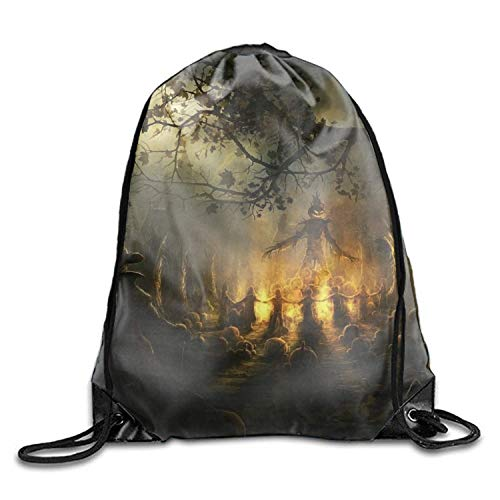 (Drawstring Backpack Shoulder Bags Gym Bag Travel Backpack Holiday Halloween Scarecrow Occult Ireland Dark)