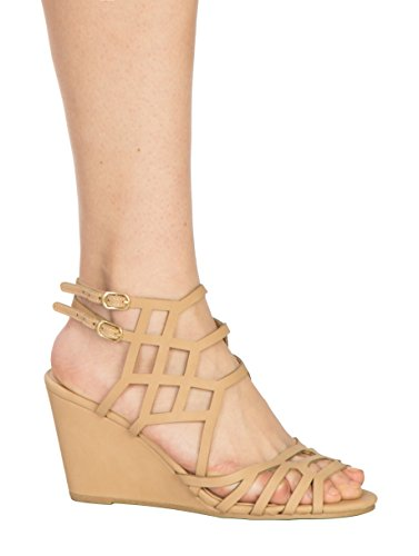 OLIVIA K Women's Sexy Strappy Wedge Sandals - Open Toe Buckle Heel -Fasionable, Festival (Size Wedge Sandals 10)