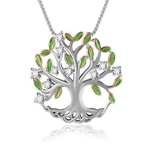THEHORAE Family Tree of Life Pendant Necklace for Women White Gold Plated Necklace Jewelry with Brilliant Leaves…
