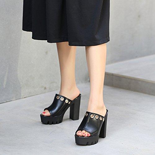 High Blockabsatz Aisun Schwarz Heel Plateau Damen Toe Pantolette Profilsohle Kunstleder Peep qqgwA0