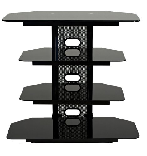 TransDeco Corner TV Audio Video Stand, 35″, Black