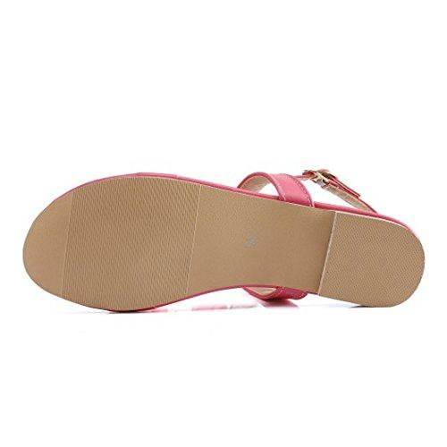 TAOFFEN Mujer Moda Floral Sandales Plano Clip Toe Slingback Verano Zapatos Rojo