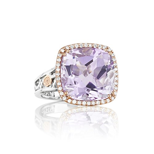 Tacori SR100P13 18K Rose Gold and Sterling Silver Lilac Blossom Amethyst Ring, Size 7 (0.18 cttw, H-I Color, I2-I3 Clarity) ()