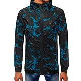 Tootu Mens Camouflage Zipper Pullover Long Sleeve Hooded Sweatshirt (XXL/Asian Size 3XL, Blue)