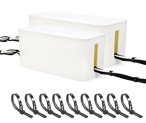 WYNMARTS CBB Large Cable Organizer Box, White Color for Outlet Power Cable Management with 100 Reusable/Releasable Cable Ties, 16
