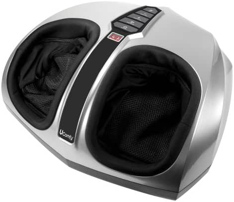 uComfy Shiatsu Foot Massager with Multi-Level Settings, Delivers Deep-Kneading Massage Relief, Silver, Round