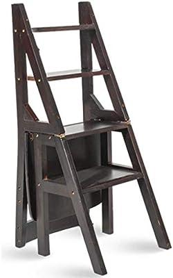 IAIZI Escalera multifunción Taburete Hogar Madera Maciza IKEA Niños Silla Plegable Provincia Espacio Escalera de Cuatro escalones de Doble Uso Escalera Ascendente 40 × 46 × 90 cm (Color : Black): Amazon.es: Hogar