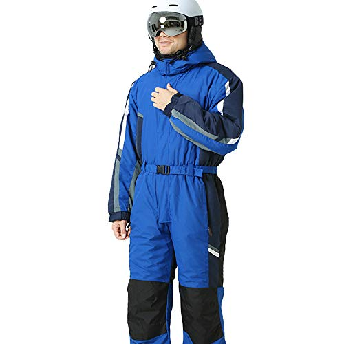 Techecho Ski Jacket and Pants Set Adult One-Piece Ski Suit Solid Color Warm Hooded Ski Pants Waterproof Snowboard (Color : Sapphire Blue, Size : XXL)