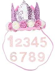 POPETPOP Corona de Cumpleaños Púrpura con Número 1-9 para Mascota Perro Gato y Niñas