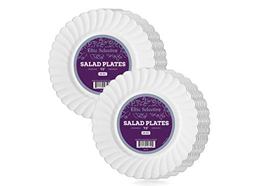 Elite Selection Salad Plates – 50 Disposable Dessert Party Plastic Plates – 7.5 Inches Party Plates with Silver Flower Rim – White Plastic Plates – Party Accessories