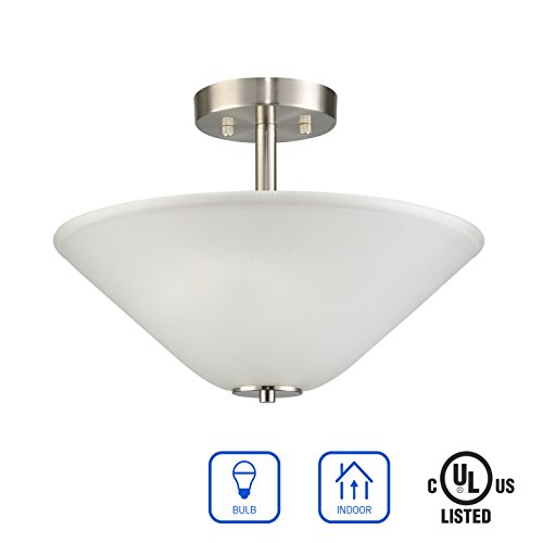 IN HOME 2-Lights Semi-Flush Mount Fixture SF04 Series, 2 x E26 60 Watt Bulb Socket, Brushed Nickel Finish with Mushroom Style Frosted Glass Shade, UL Listed