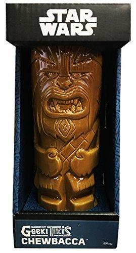 ThinkGeek Geeki Tikis Chewbacca 14-Ounce Ceramic Drinking Mug - Officially-Licensed Star Wars Merchandise (Ukulele Lei)