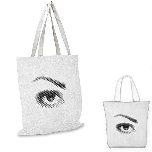 Eyelash canvas shoulder bag 3D Style Illustration of Eye with Dots on White Background Retro Haltone Effect canvas lunch bag Black White. 12
