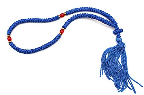 Iconsgr Handmade Christian Orthodox Komboskoini, Prayer Rope 100 Knots Blue/blue Beads ()