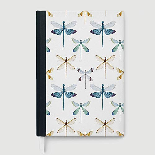 (Casebound Hardcover Notebook,Dragonfly,Collection of Regularly Lined Up Limitless Dragonfly Patterns Short Lives Symbol,96 Ruled Sheets,B5/7.99x10.02 in)