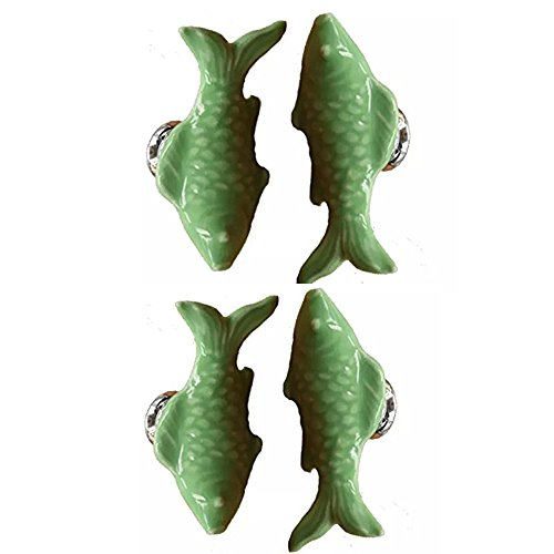 CSKB GREEN 4PCS 60mm Koi Fish-shaped Ceramic Door Knob For Cupboard/Cabinet/Bathroom/Drawer Great Furniture Ornaments For Nursery/Baby Room 6 Colors Available