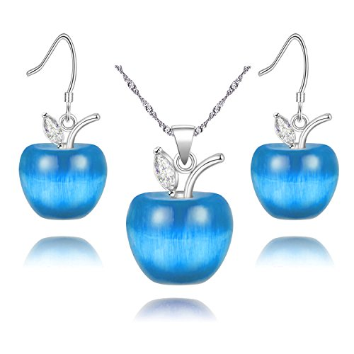 Uloveido Teacher's Day Gift Silver Plated Candy Apple Blue Cubic Zirconia Pendant Necklace Earrings Jewelry Set for Women (Blue Cubic Zirconia Pendant)