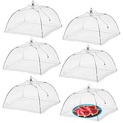 Simply Genius (6 pack) Large and Tall 17x17x11 Pop-Up Mesh Food Covers Tent Umbrella for Outdoors, Screen Tents Protectors For Bugs, Parties Picnics, BBQs, Reusable and Collapsible