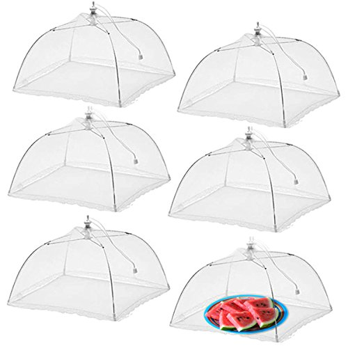Fun Fondue Set - Simply Genius (6 pack) Large and Tall 17x17 Pop-Up Mesh Food Covers Tent Umbrella for Outdoors, Screen Tents, Parties Picnics, BBQs, Reusable and Collapsible