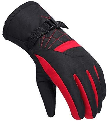 AMAZACER スキースケートスノーボードショベル用スキー手袋、防水断熱手袋冬暖かい手袋