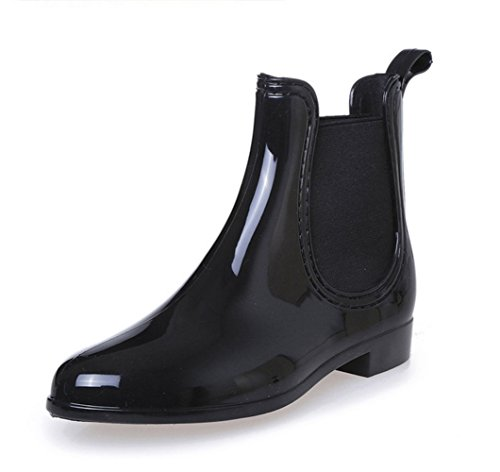 Womens Rain Boots Platform Slip On Ankle Booties Elastic Martin Chelsea Short Rainy Shoes